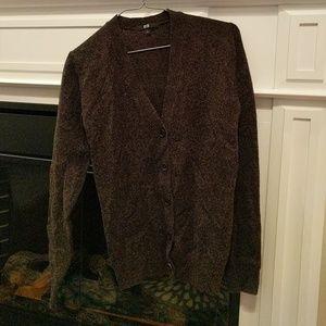 Dark brown 60% wool cardigan sweater